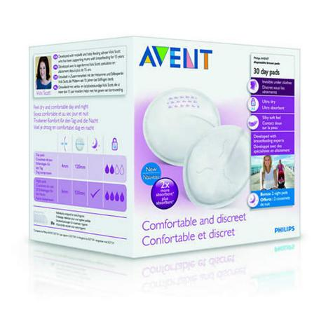 Philips Avent Disposable Breast Pads Day|Hygienic|Four Layers|Silky Soft|30 Pack Thumbnail 3