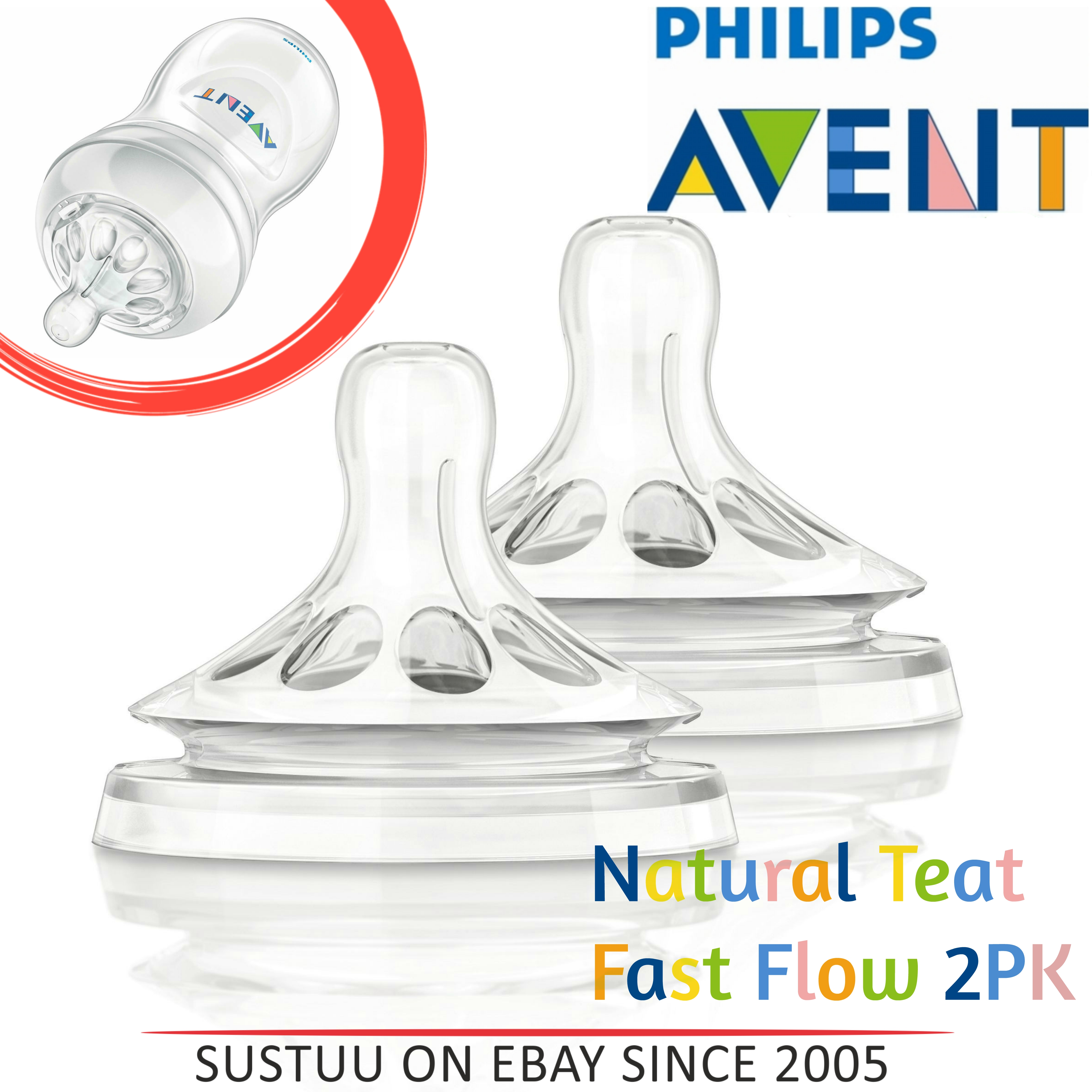 Philips Avent Baby Natural Teat Fast Flow|BPA Free|Twin Valve Design|Anti Colic