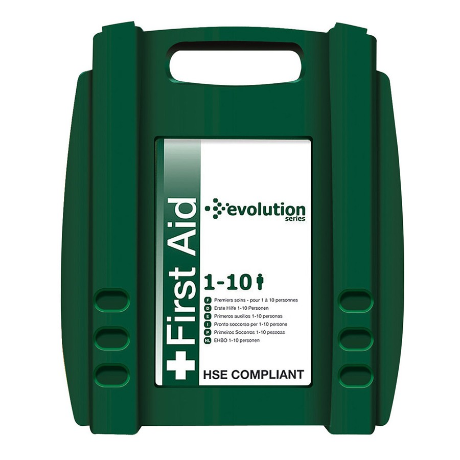 First Aid Kit Evolution Standard 1-10 Person | HSE Recommended | Durable Hinged Case