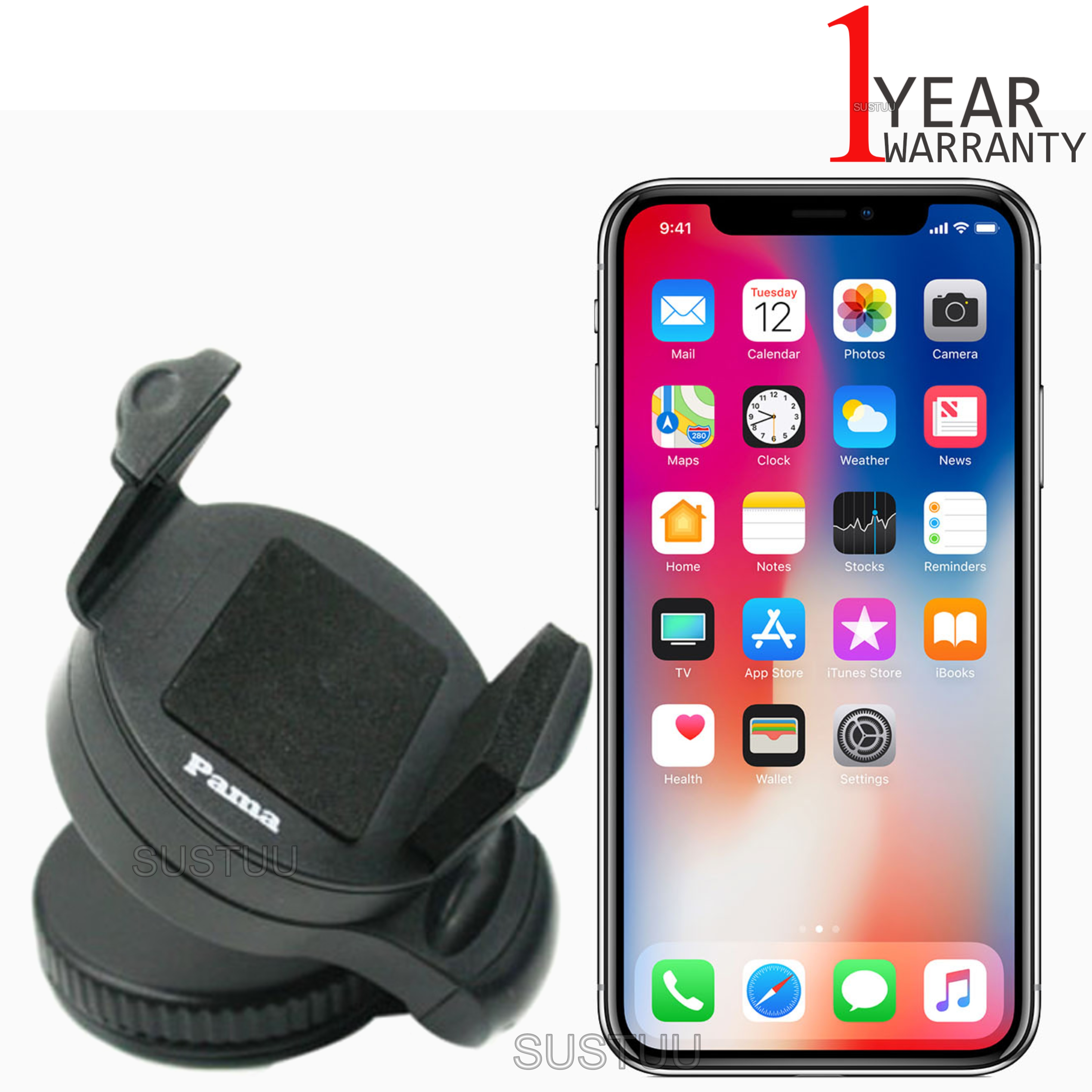 Universal In Car Windscreen Dash Mount | Holder / Cradle | For iPhone X / 8-7-6 Plus / 6s / 5s / 5C