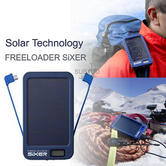 Solar Technology Free Loader SiXER 6000mAh Solar Battery Charger Pack Powerbank