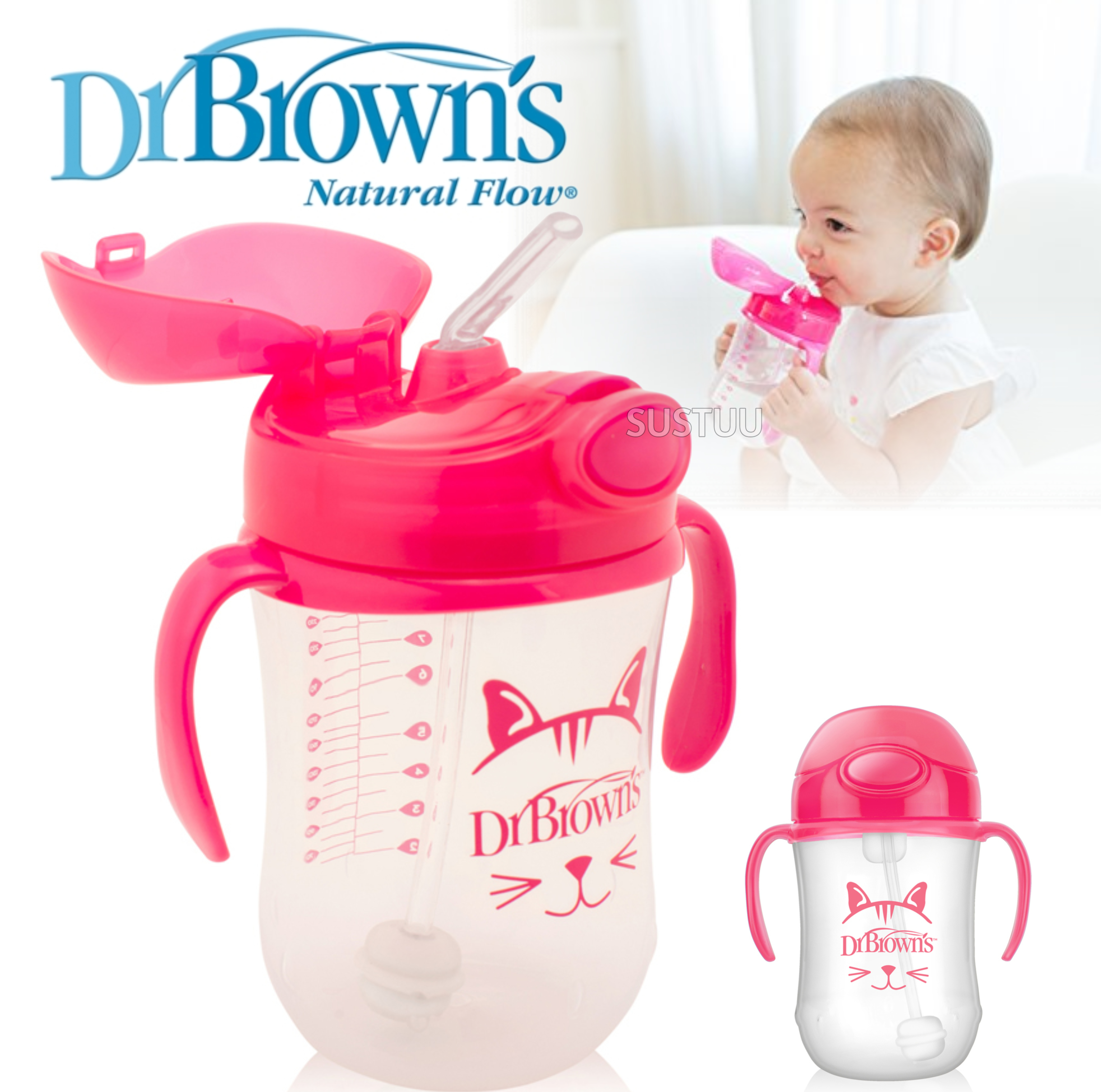 Dr Brown's Baby Weighted Spillproof Straw Cup|BPA Free|Dishwasher Safe|Pink|