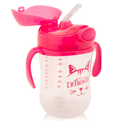 Dr Brown's Baby Weighted Spillproof Straw Cup|BPA Free|Dishwasher Safe|Pink| Thumbnail 2