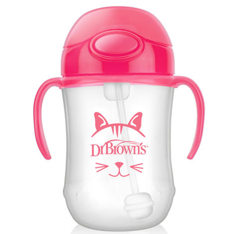 Dr Brown's Baby Weighted Spillproof Straw Cup|BPA Free|Dishwasher Safe|Pink| Thumbnail 3