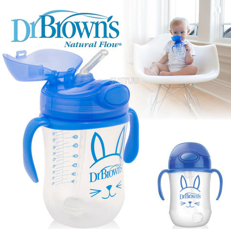 Dr Brown's Baby Weighted Spillproof Straw Cup|BPA Free|Dishwasher Safe|Blue| Thumbnail 1