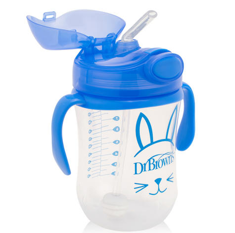 Dr Brown's Baby Weighted Spillproof Straw Cup|BPA Free|Dishwasher Safe|Blue| Thumbnail 2