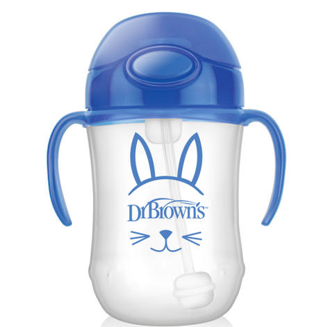 Dr Brown's Baby Weighted Spillproof Straw Cup|BPA Free|Dishwasher Safe|Blue| Thumbnail 3
