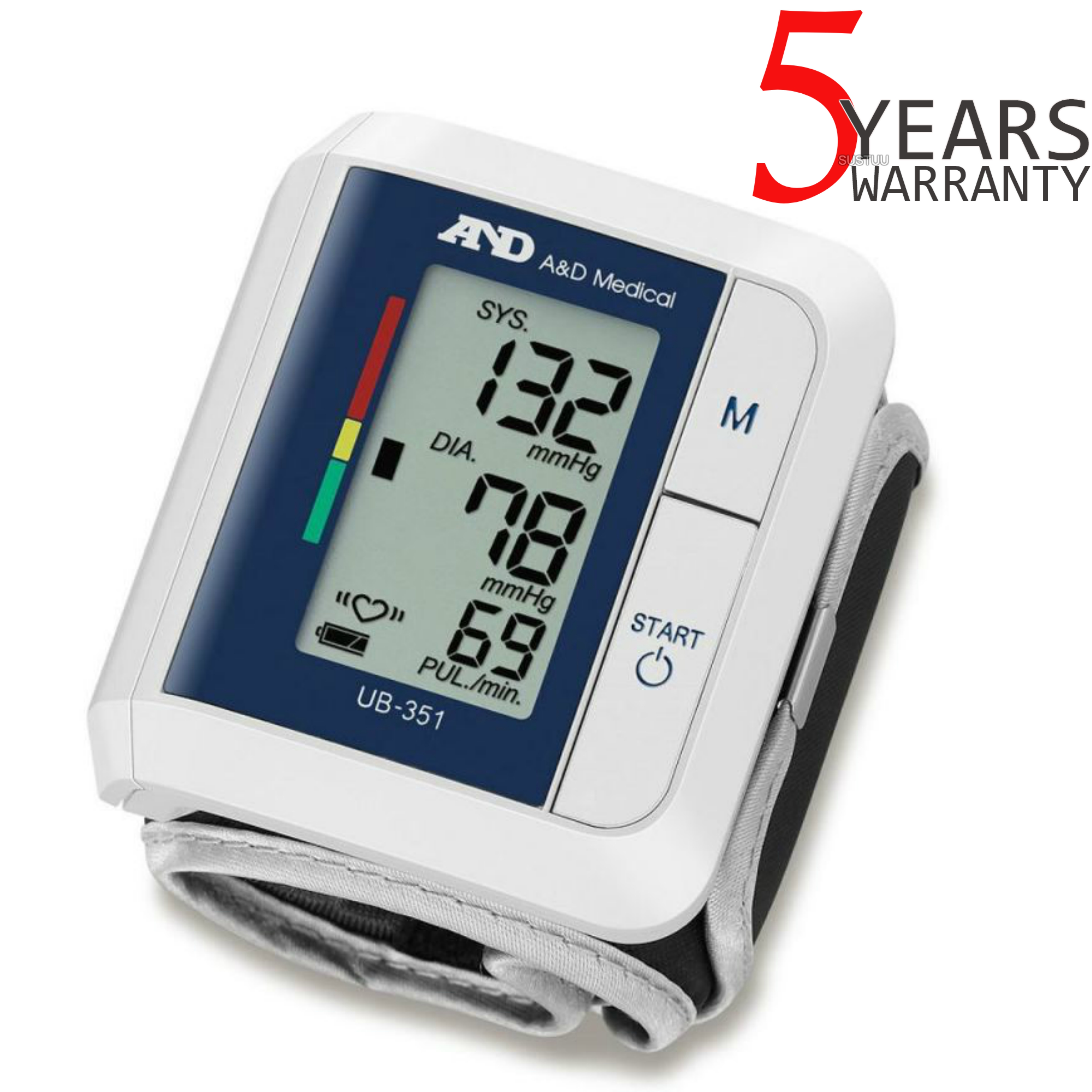 A&D Medical UB351 Wrist Blood Pressure Monitor | IHB Indicator | Compact Design | Whit
