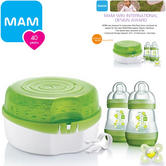 MAM Microwave Steam Steriliser Kit Includes 2x160 ml Bottles,1x Dummy+Teat Tong