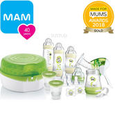 MAM Breast Feeding and Steriliser Starter Set | Breast-Pump | Anti -Colic Bottles & Teats | Dummies | New