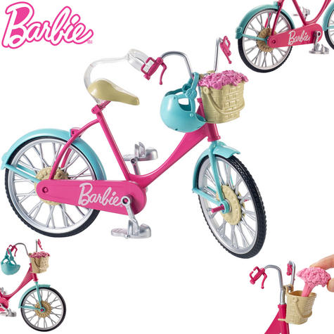 Barbie Bike Playset | Bicycle Toy For Barbie With Basket,Flowers & Helmet | 3 Years+ Thumbnail 1