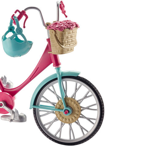 Barbie Bike Playset | Bicycle Toy For Barbie With Basket,Flowers & Helmet | 3 Years+ Thumbnail 3