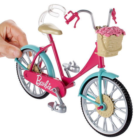 Barbie Bike Playset | Bicycle Toy For Barbie With Basket,Flowers & Helmet | 3 Years+ Thumbnail 6