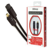 Techlink iWires FireWire 800 9P to FireWire 400 6P Mini Cable/Lead | 2m Black Plug | High Speed Data Transfer