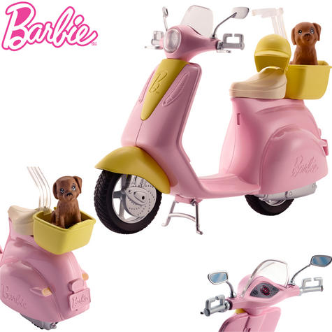 Barbie Moped Playset | Scooter Toy For Barbie With Basket,Puppy & Helmet | 3 Years+ Thumbnail 1