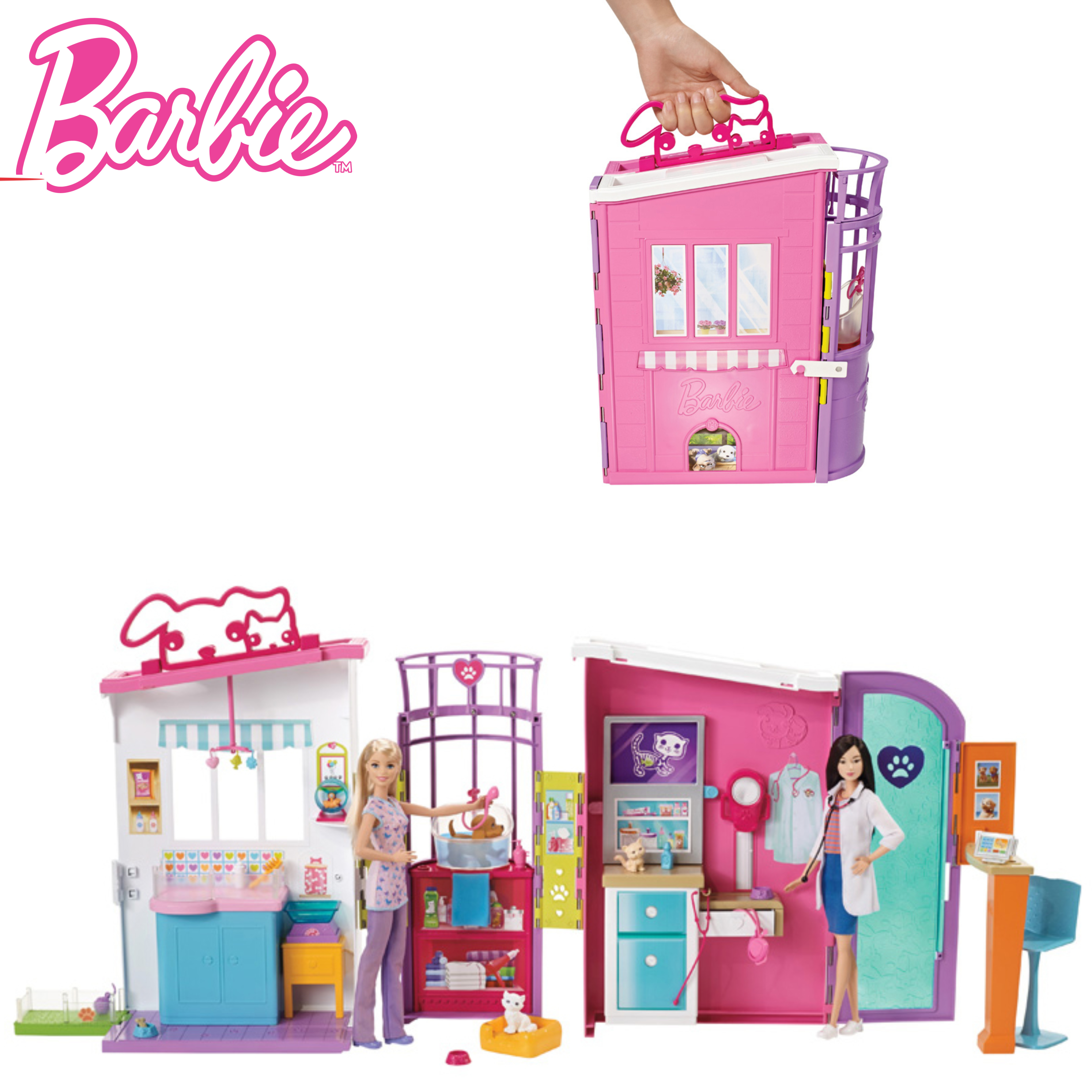 Barbie Pet Care Centre | Veterinarian Doctor Grooming Playset with 4 Pets | 15Pieces