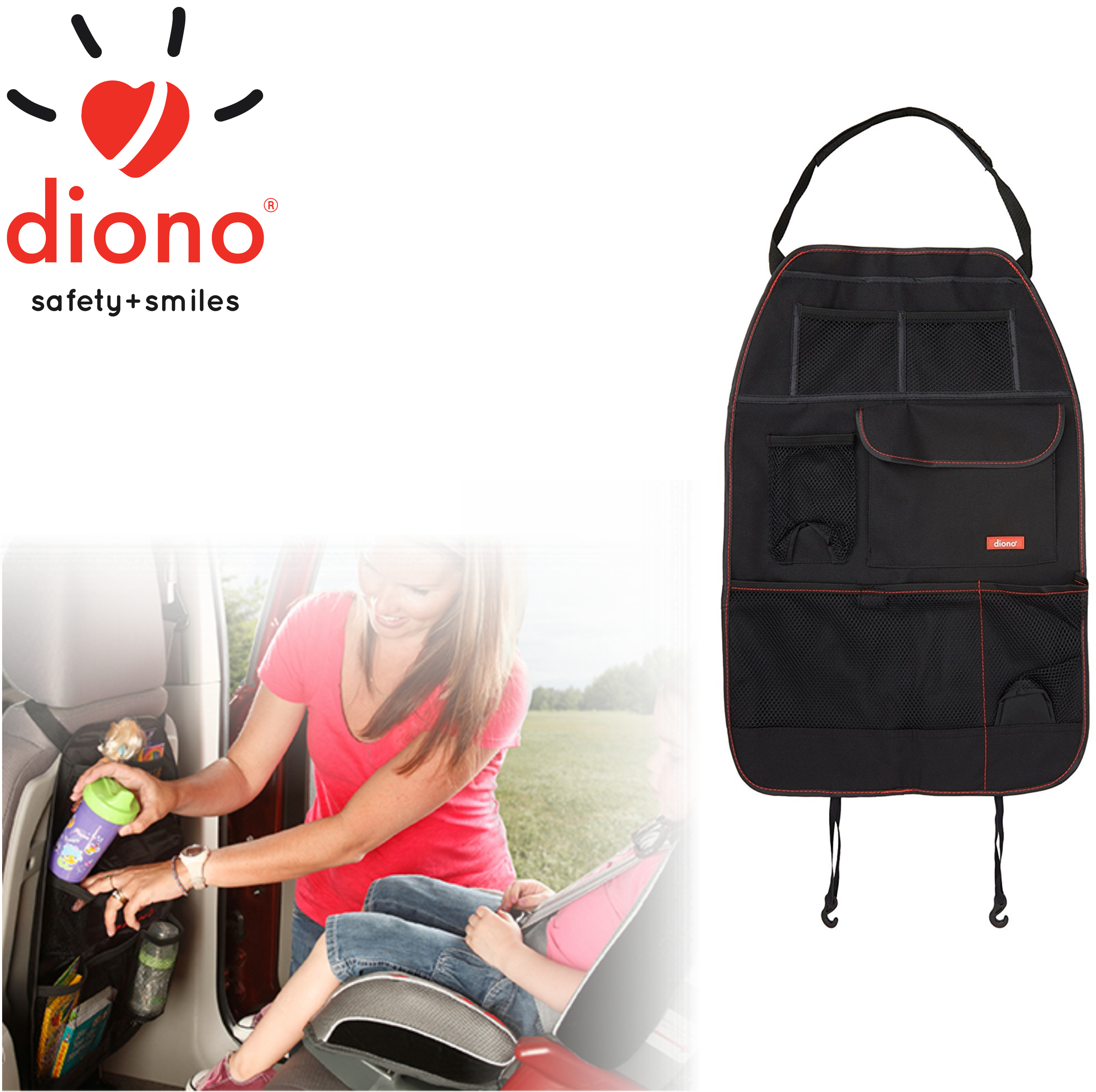Diono Stow 'n Go Seat Back Organizer | Kids In-Car Storage | Easy To Use & To Attach