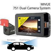 Mio Mivue 751 DUAL Car Dash Cam | DVR With GPS & Speed + Rear Camera | Video Record