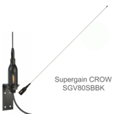 Supergain CROW VHF Stainless Steel Whip 34'' Antenna & 20m RG58C/U Cable|3dB gain