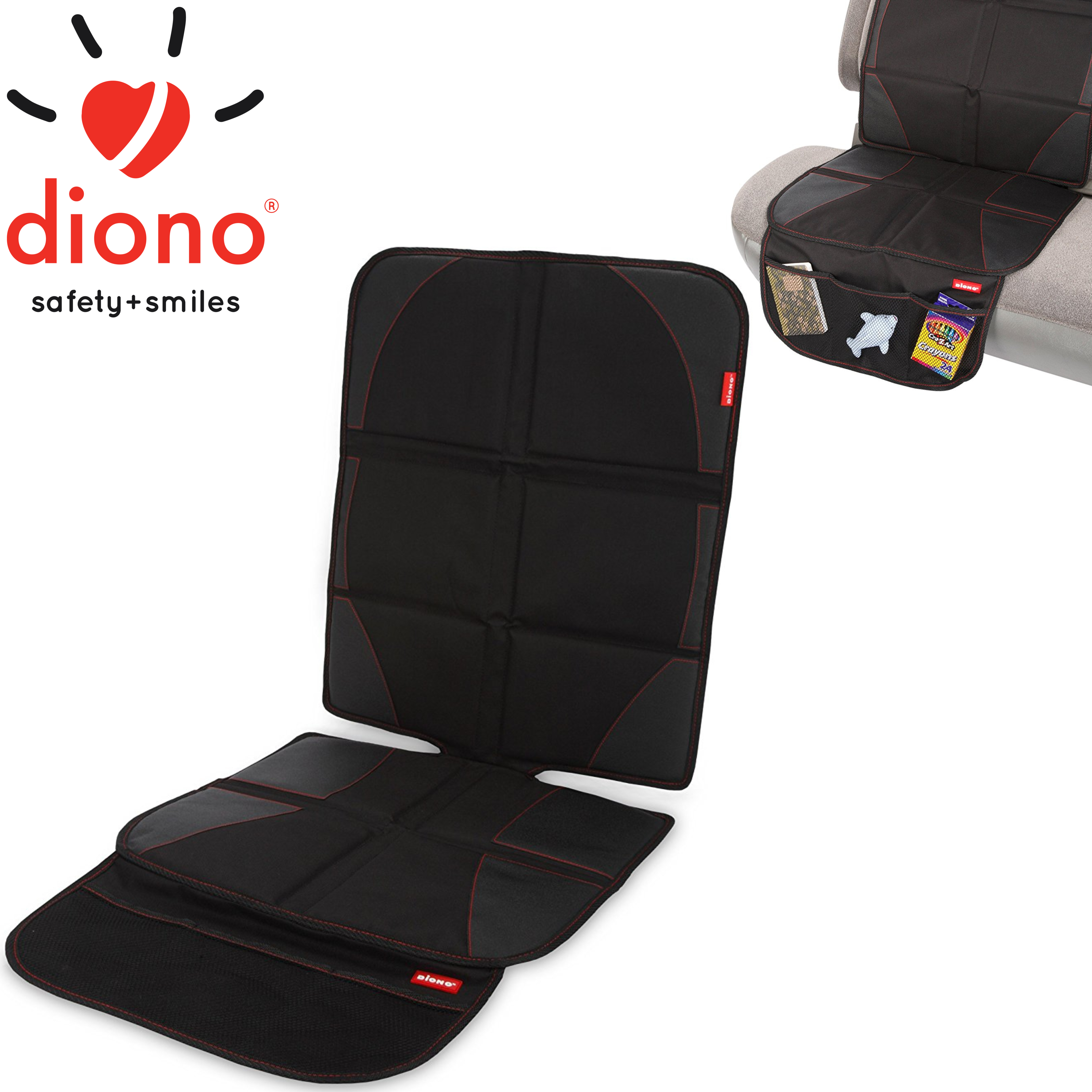 Diono Ultra Mat Car Seat Protector | Handy Pocket In Front For Travel Accessories