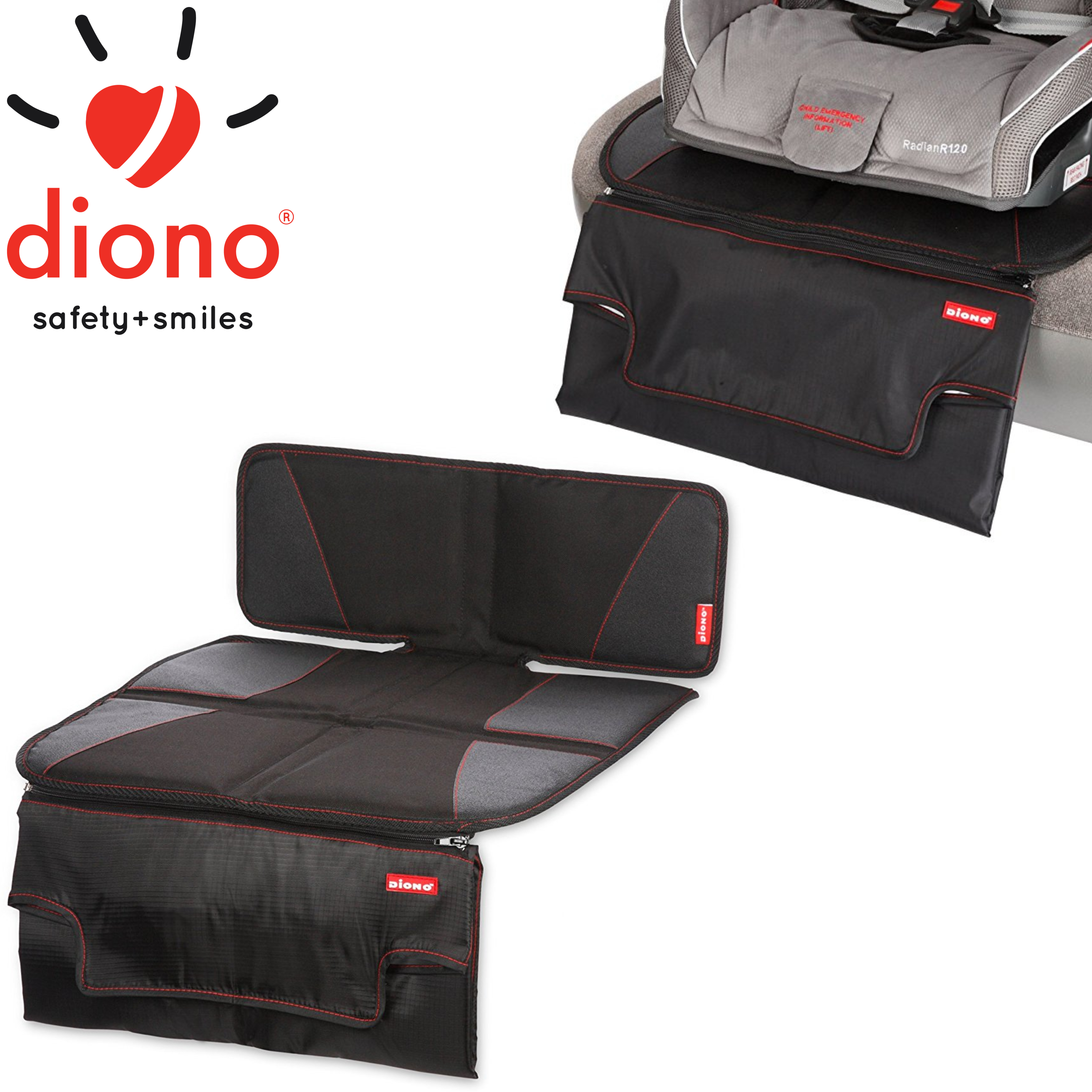 Diono Super Mat Deluxe Double Layer Seat Protector With Zip Off Changing Mat | New