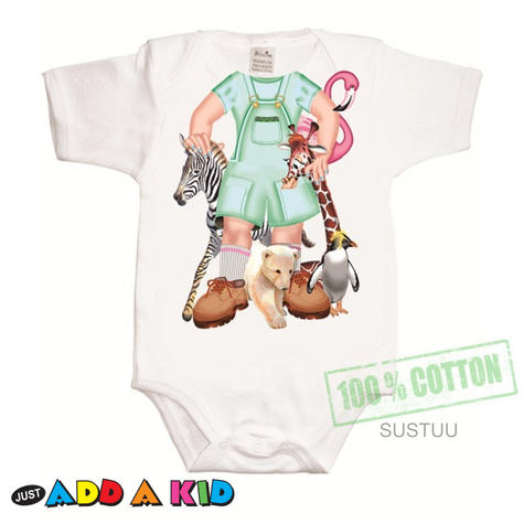 Just Add a Kid'Jungle Jane'Bodysuit 100% Cotton Comfortable For 6-12 Months Baby Thumbnail 1