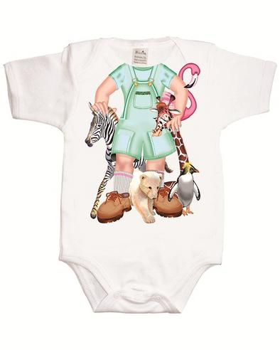 Just Add a Kid'Jungle Jane'Bodysuit 100% Cotton Comfortable For 12-18 Month Baby Thumbnail 2