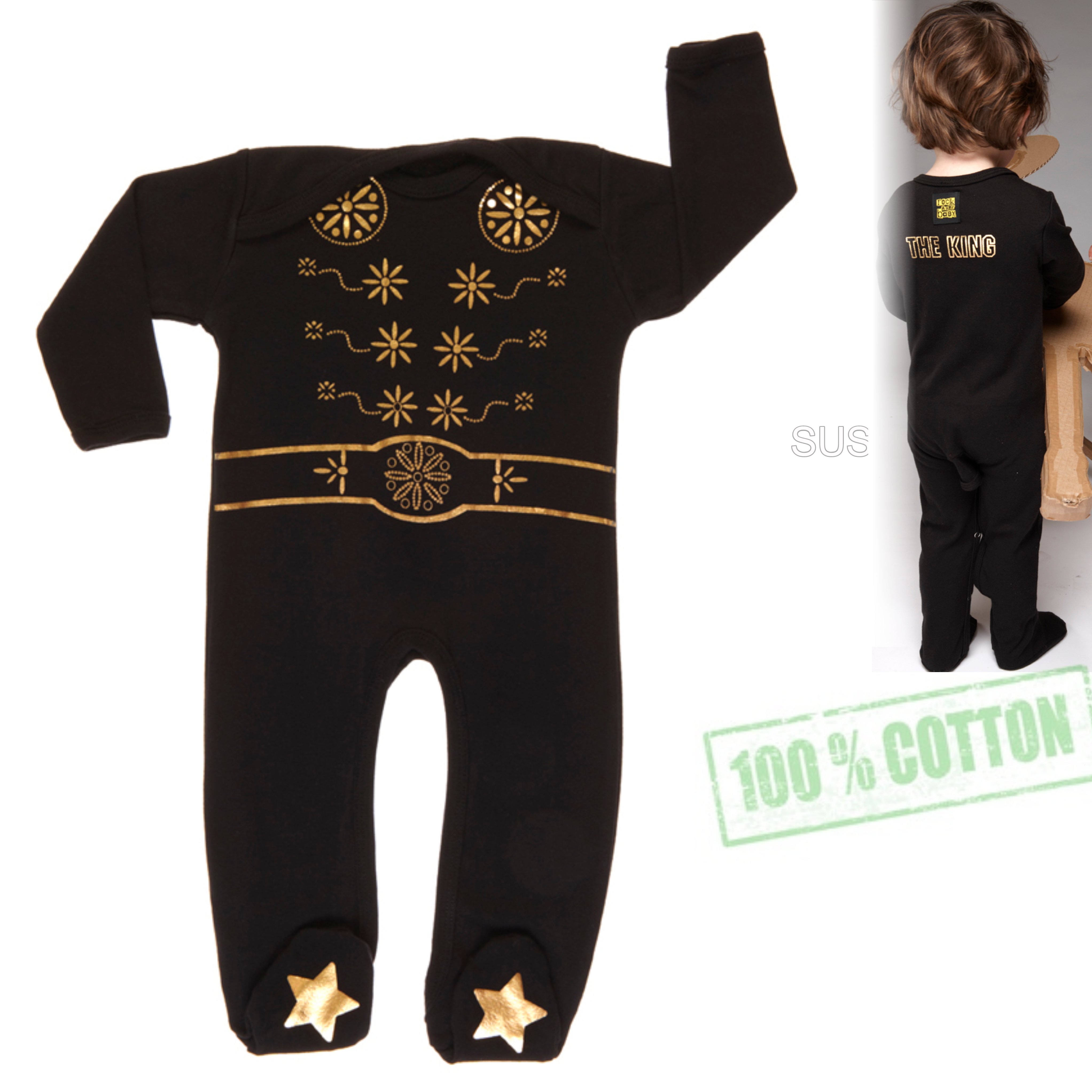 Rockabye Baby Elvis King Sleepsuit Black|SuperSoft Cotton|Gold Star Printed|3-6month