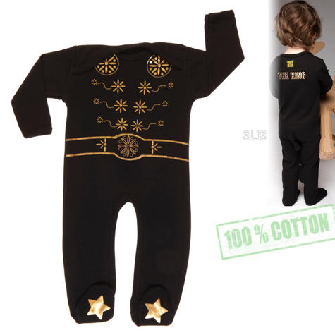 Rockabye Baby Elvis King Sleepsuit Black|SuperSoft Cotton|Gold Star Printed|3-6month Thumbnail 1