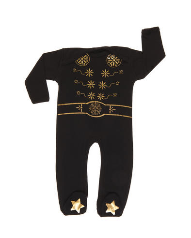 Rockabye Baby Elvis King Sleepsuit Black|SuperSoft Cotton|Gold Star Printed|3-6month Thumbnail 2