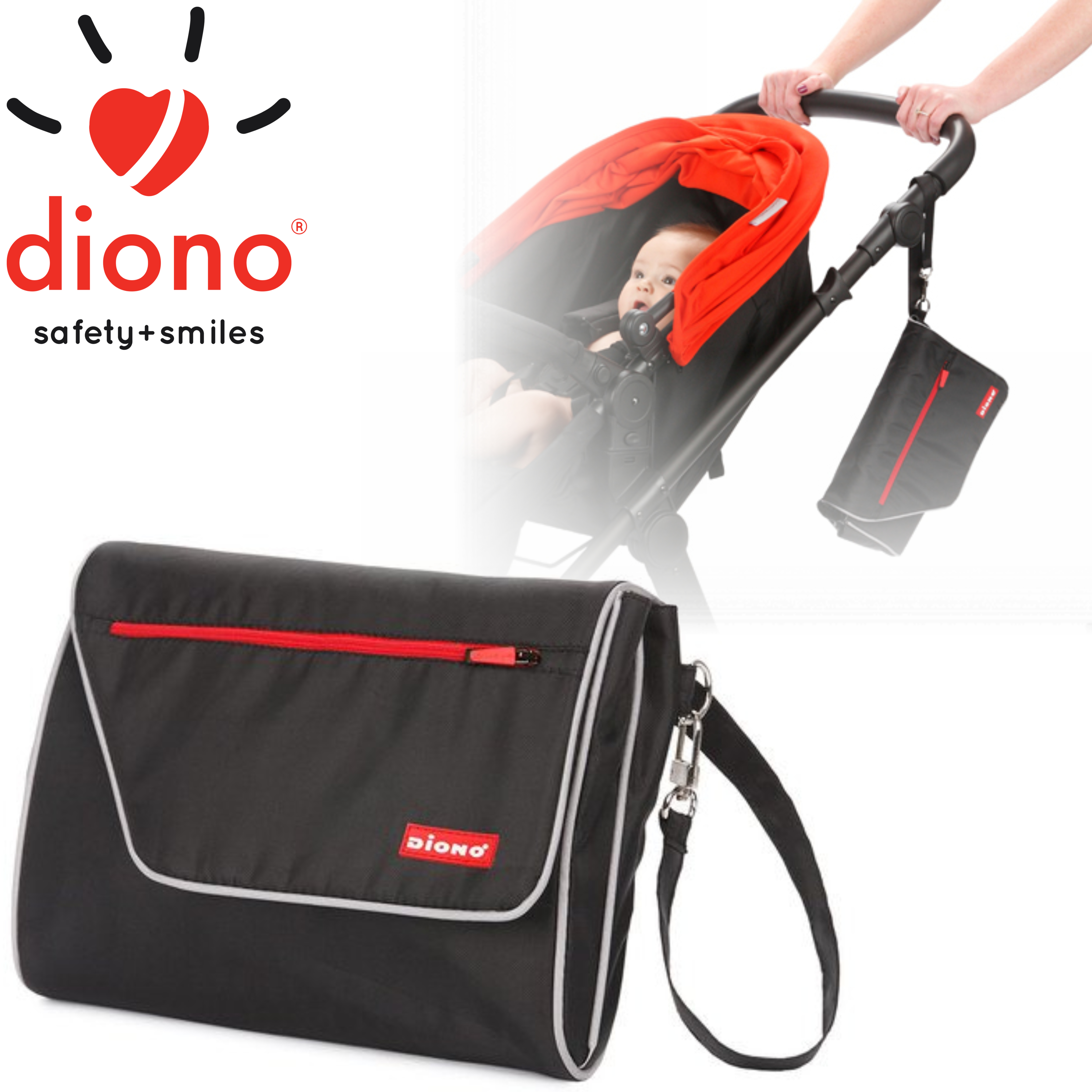 Diono Travel Baby/Toddler Nappy Changer | Comfortable Padded Mat | Unisex Design | New