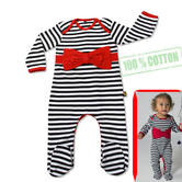 Rockabye Baby Red Bow Stripe Envelope Neck Sleepsuit|Luxurious Feell Jersey|6-12m