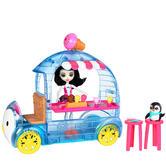 Enchantimals Treats Ice Van with Preena Penguin Doll & Pet Ice Cream Cart Set 