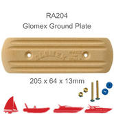 Glomex RA204 Rectangular Ground Plate|205 x 64 x 13mm|For RIB/ Sail/ Power Boats