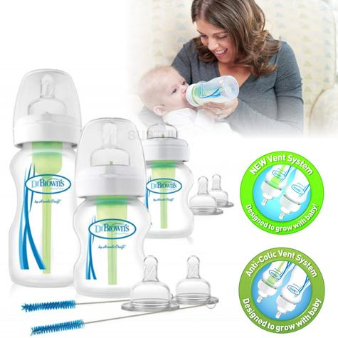 Dr Brown's Options Wide Neck Anti-Colic Starter Kit | Reduces Colic,Burping & Wind Thumbnail 1