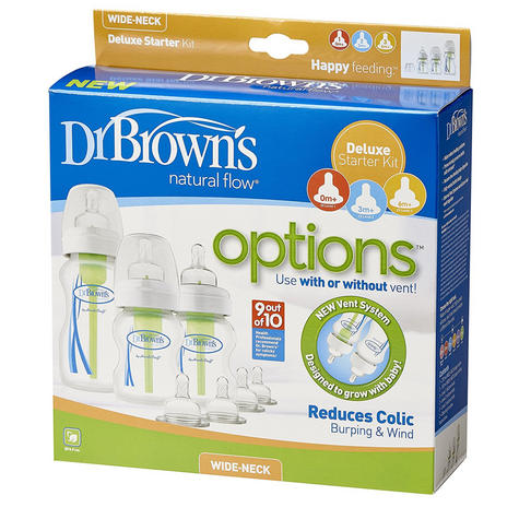 Dr Brown's Options Wide Neck Anti-Colic Starter Kit | Reduces Colic,Burping & Wind Thumbnail 3