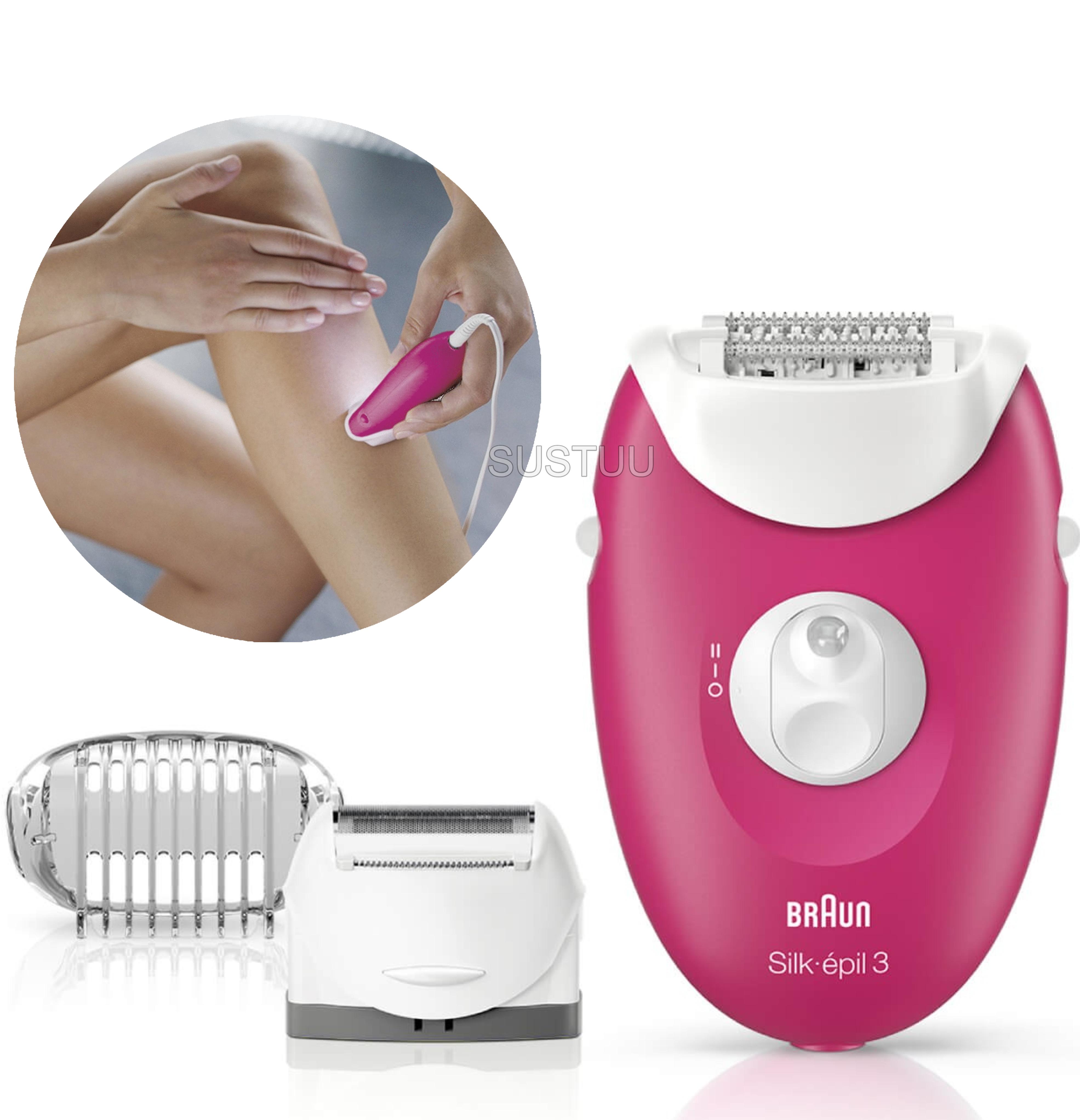 Braun Silk-Epil 3 Corded Epilator + 3 Extras | Women's Hair Removal | Raspberry Pink