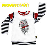 Rockabye Baby Frilly Leonard Leopard Long Sleeve Super Soft Cotton T-Shirt|6-12m