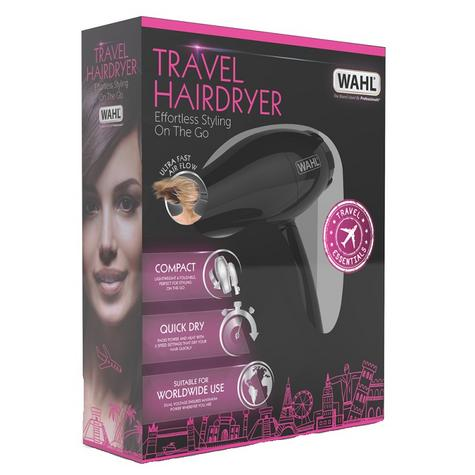 Wahl ZX982 Compact Travel Hair Dryer+Diffuser | 1000W | Quick Drying | Foldable | Black Thumbnail 5