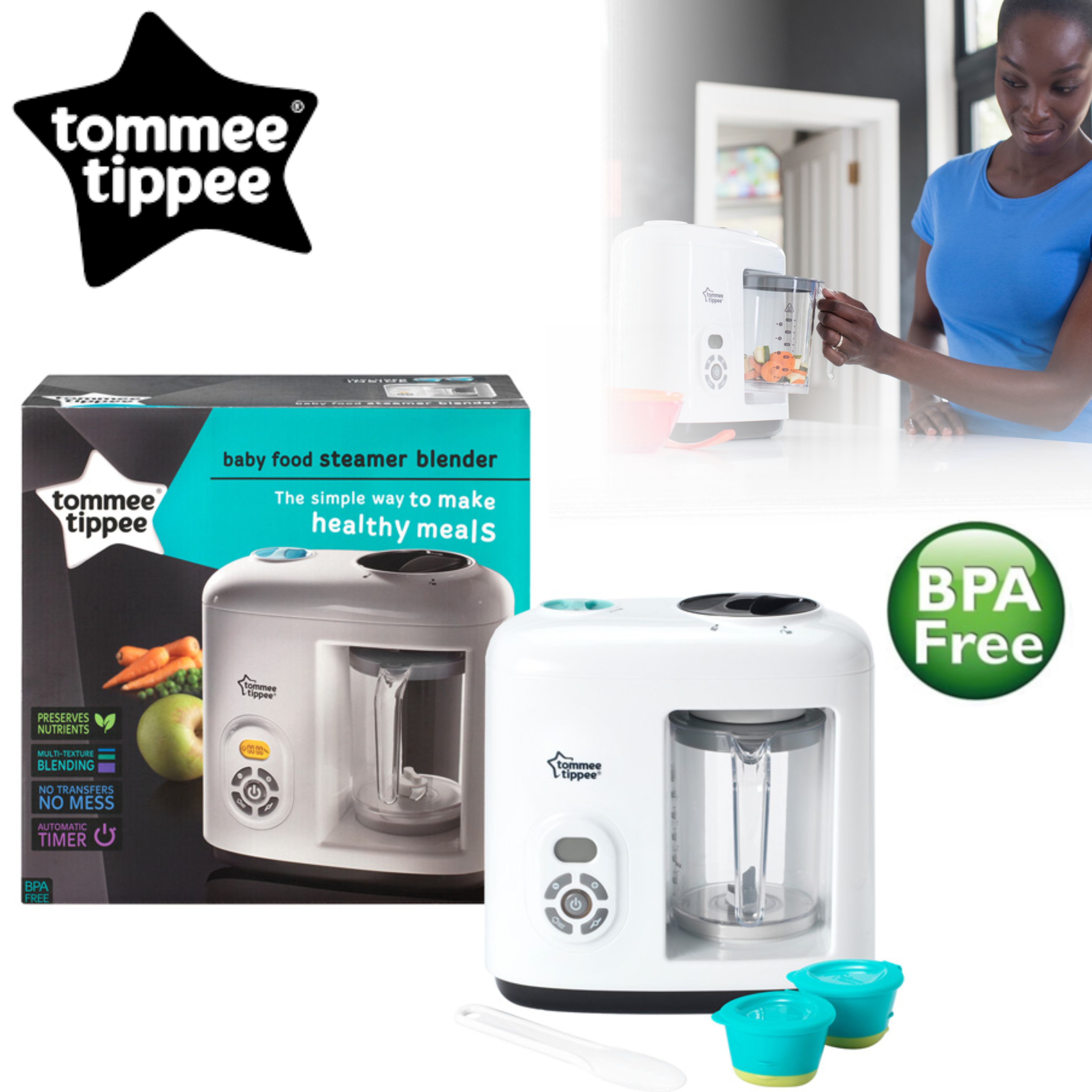 Tommee Tippee Closer to Nature Food Steamer/ Blender | Puree Maker + Freezer Pots | Preserve Nutrients & Flavour