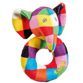Elmer Ring Rattle|Soft Patchwork Coloured Elephant Toy|New Born Baby|