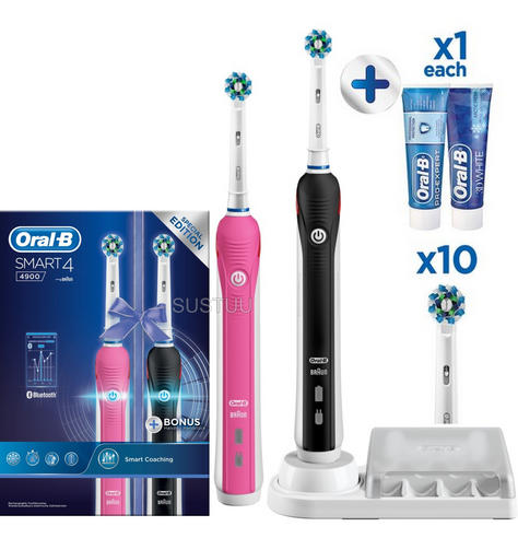 Oral-B Smart 4 4900 Electric Rechargeable Toothbrush Twin Pack | 3 Speed Settings Thumbnail 1