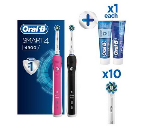 Oral-B Smart 4 4900 Electric Rechargeable Toothbrush Twin Pack | 3 Speed Settings Thumbnail 2