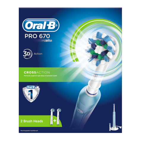 Oral-B Pro 670 Cross Action Electric Rechargeable Toothbrush + 2 Brush Heads | NEW Thumbnail 4