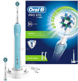 Oral-B Pro 670 Cross Action Electric Rechargeable Toothbrush + 2 Brush Heads | NEW