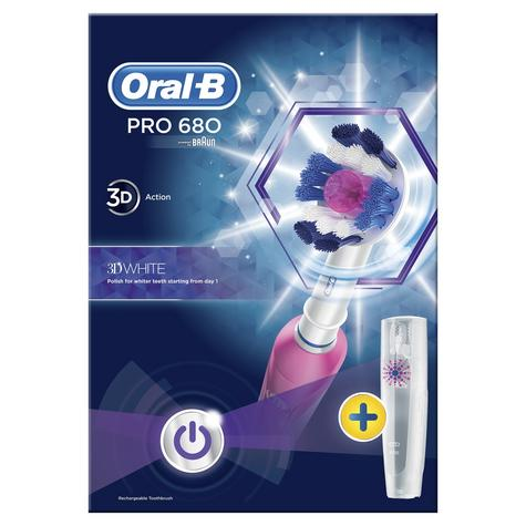 Oral-B Pro 680 3D White Electric Rechargeable Toothbrush | Oral Care | Travel Case Thumbnail 3