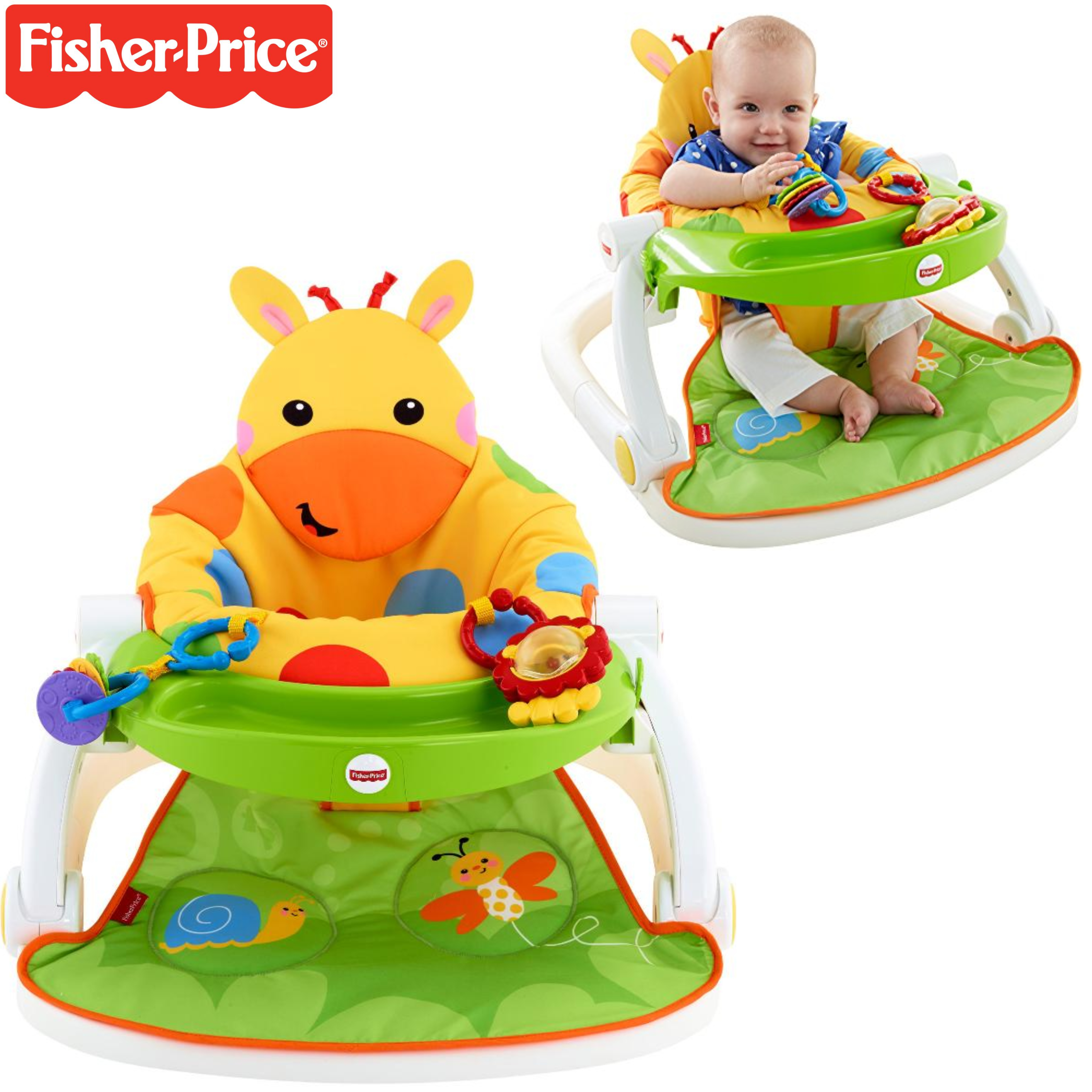 Fisher-Price Giraffe Sit Me Up Floor Seat|Kid's Snack Time Chair Toy|Soft Fabric
