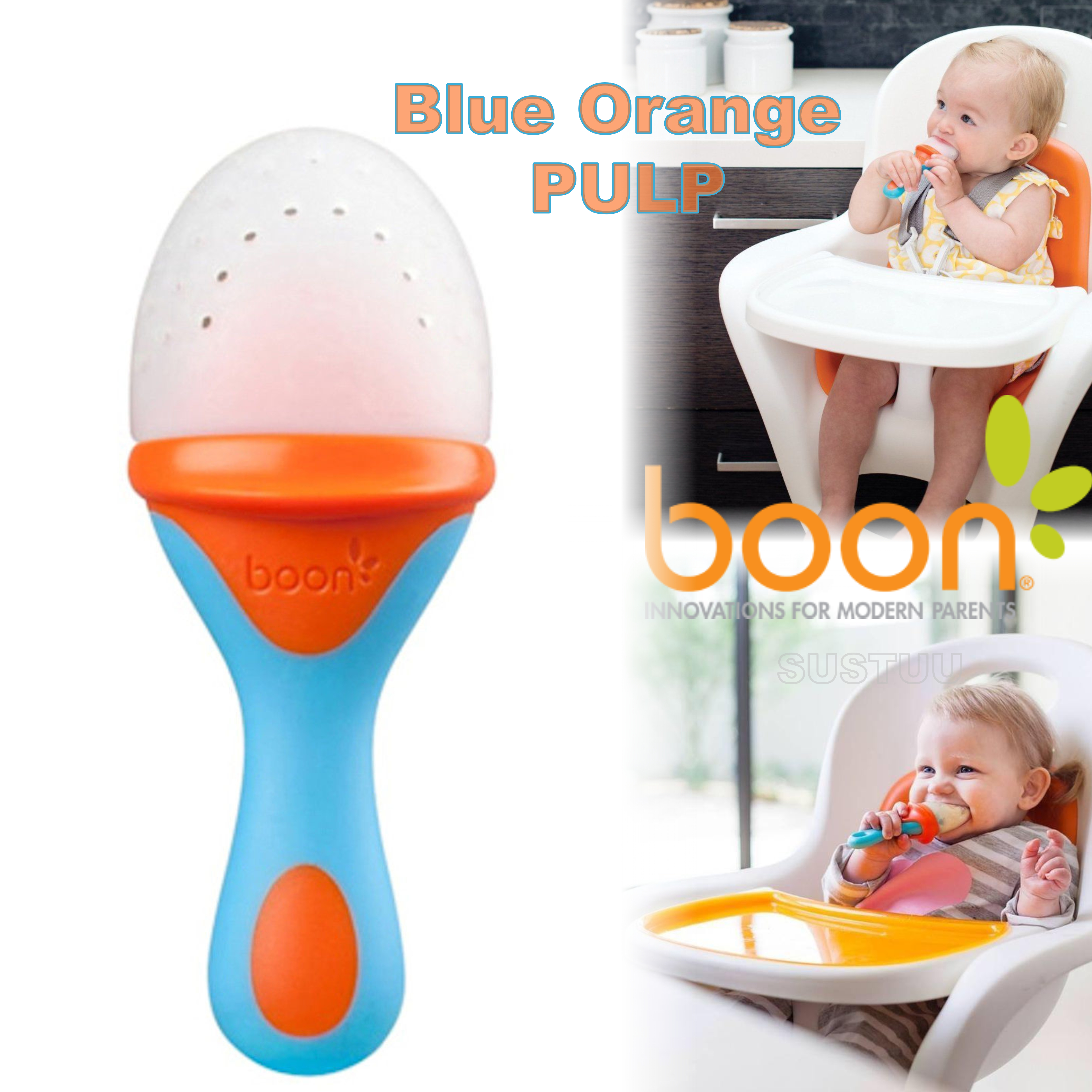 Boon Pulp Blue Orange|Silicon Baby Food Feeder|Phthalate PVC BPA Free|6+ Month