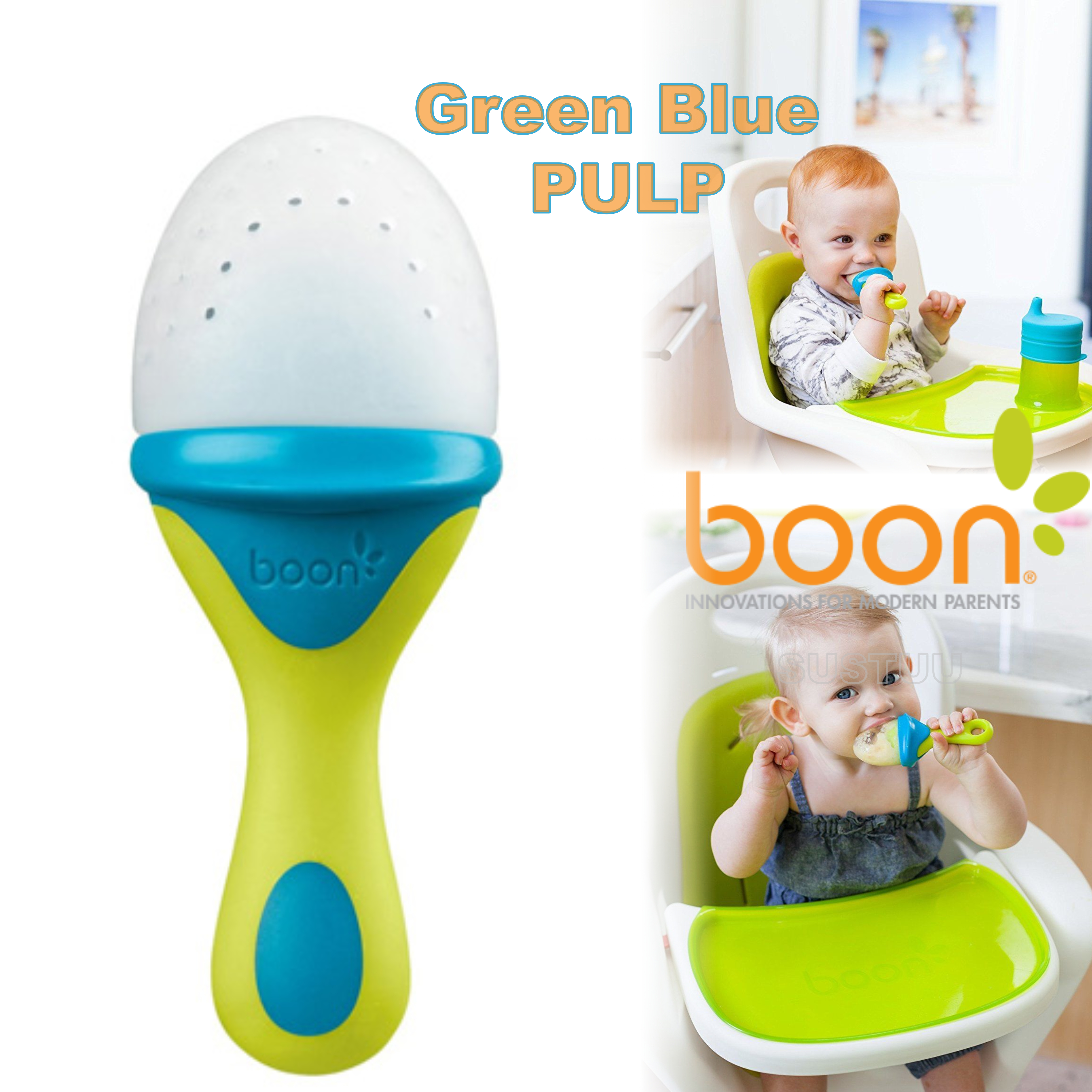 Boon Pulp Green Blue|Silicon Baby Food Feeder|Phthalate PVC BPA Free|6+ Month