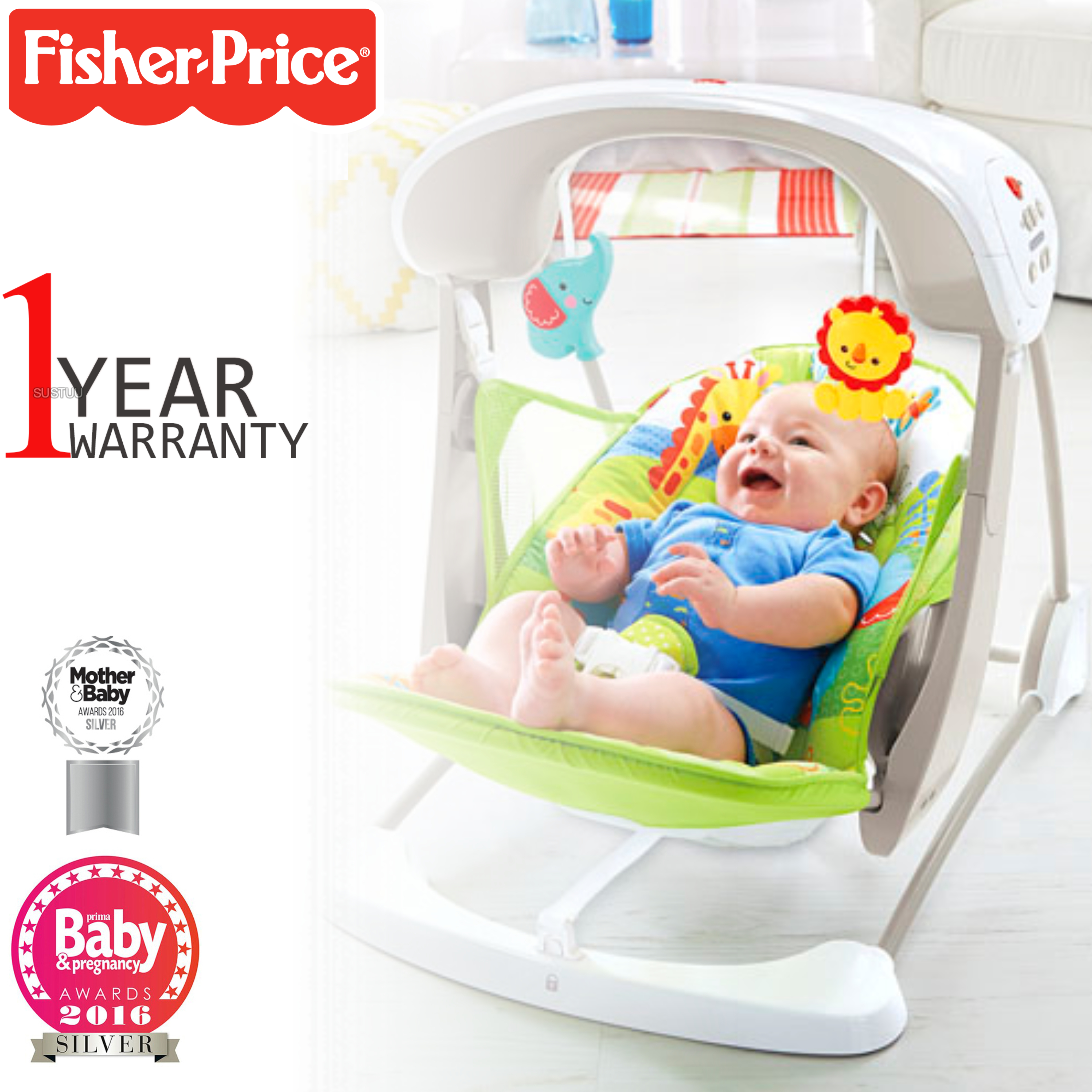 Fisher-Price Rainforest Take Along Swing & Seat For Kids    Music,Sound,Vibrations